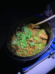 Chicken curry in cast iron