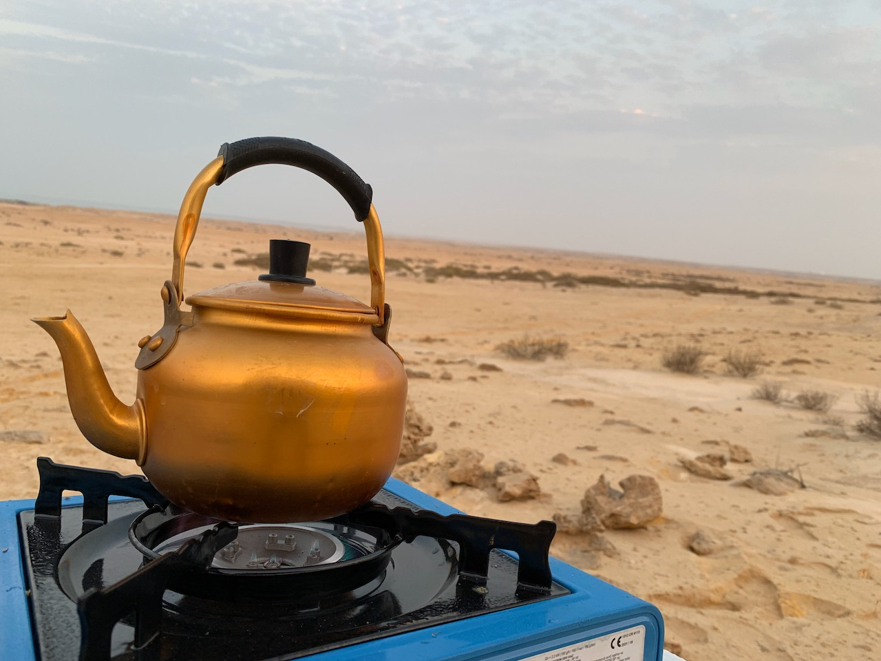 Camping kettle on gas cooker